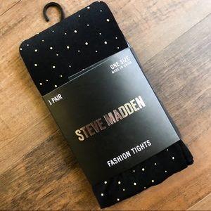 Steve Madden black and gold dot tights